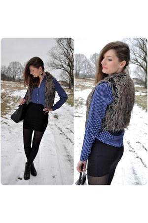 blue dots Zara shirt - dark brown vest - black skirt