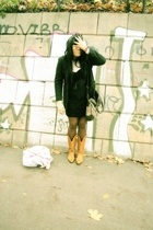 vintage shoes - blazer - dress - purse
