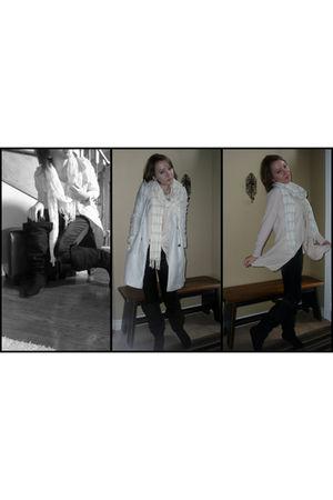 blue NafNaf coat - white American Eagle scarf - gold Aldo necklace - pink H&M sw