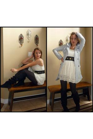 blue NafNaf coat - white Danity dress - black H&M belt - black Urban Outfitters