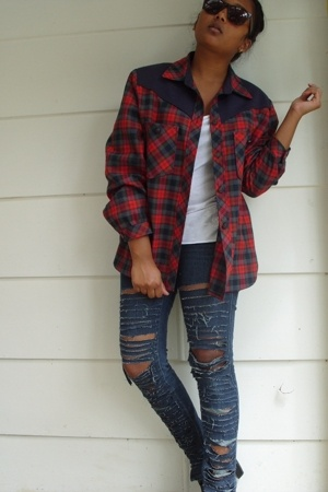 unknown blouse - supre t-shirt - Just jeans jeans - shadze glasses - Sole boots
