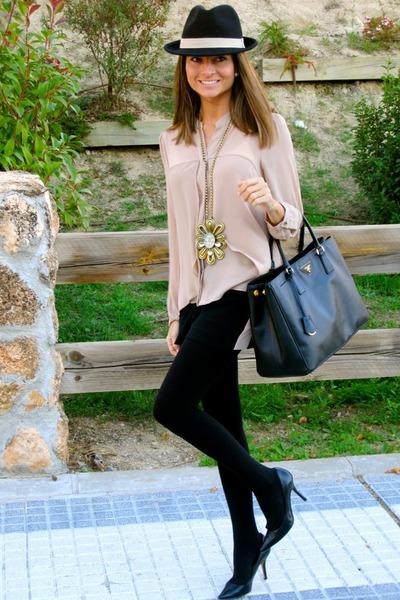 peach Forever21 blouse - black Pilar Burgos shoes - black Prada bag