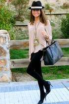 peach Forever21 blouse - black Pilar Burgos shoes - black Prada bag