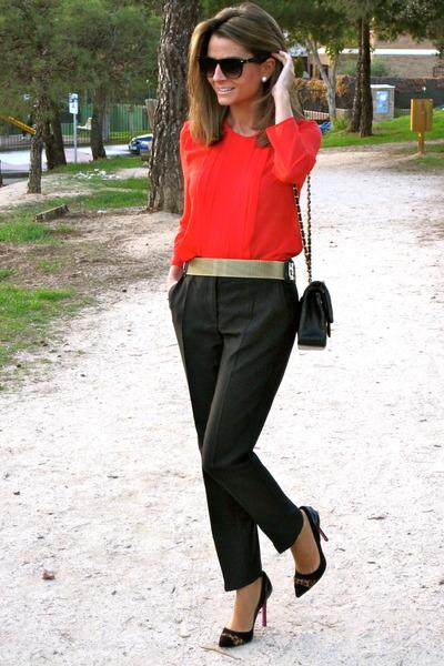 gold Mango belt - black Chanel bag - black Mango glasses - black Mango pants