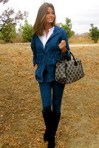 navy abercrombie and fitch jeans - black Zara boots - navy Juicy Couture jacket