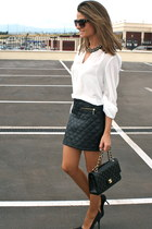 black Calzados Gredos shoes - black Chanel bag - black Mango sunglasses