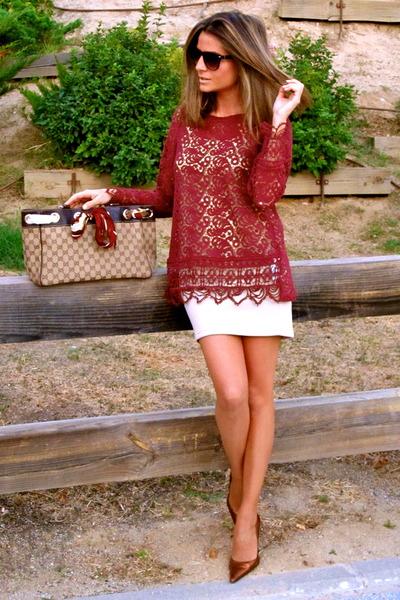 maroon Zara blouse - camel Gucci bag - camel Stradivarius skirt