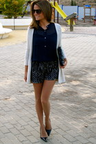 navy Zara dress - navy Calzados Gredos shoes - gold Zara jacket