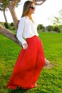 Red-zara-skirt-tawny-calzados-gredos-shoes-black-mango-sunglasses