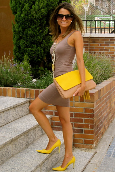 mustard Zara bag - camel H&M dress - black Mango sunglasses