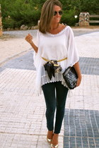 Forever 21 blouse - hollister jeans - fahoma bag - Ray Ban sunglasses
