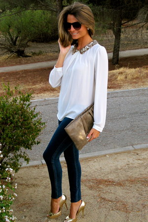 white Forever 21 blouse - navy abercrombie and fitch jeans