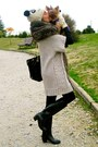 White-primark-hat-black-capelli-boots-off-white-zara-jacket