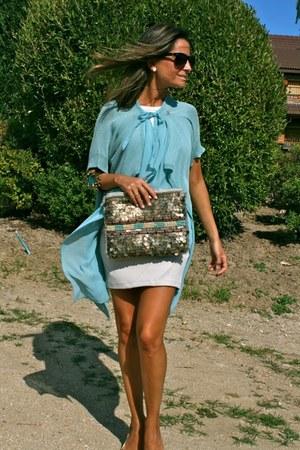 aquamarine Uterqe bracelet - sky blue Oro Pagoda jacket - silver Zara bag