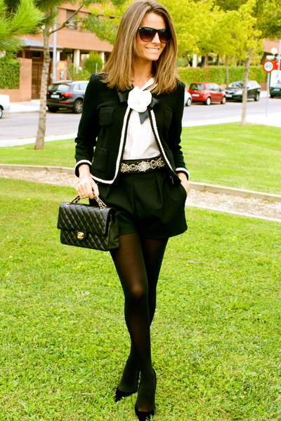 black Moskada jacket - black Chanel bag - black Zara shorts - black Zara belt