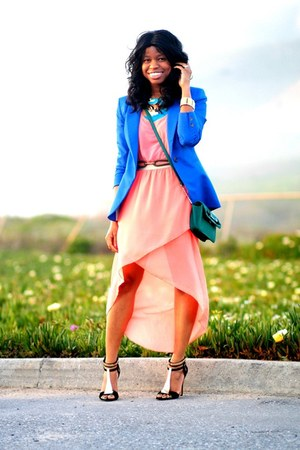 blue H&M blazer - salmon Forever 21 dress - black Forever 21 sandals