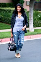 heather gray Local Celebrity top - blue boyfriend Forever 21 jeans