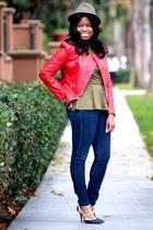 moto Forever 21 jacket - Forever 21 jeans - fedora hat