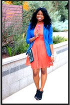 blue H&M blazer - BB Dakota dress - wristlet Kenneth Cole bag