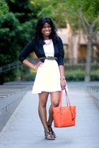 white H&M dress - black Rory Beca blazer - carrot orange Michael Kors bag