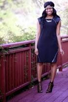 black catherine malandrino dress - black lanvin coat - gold modcloth necklace
