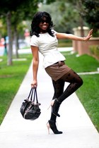beige peplum Forever 21 top - black boy meets girl tights