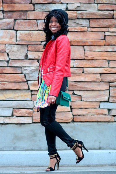 green shirt Prabal Gurung dress - red moto Forever 21 jacket
