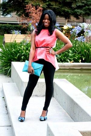 OASAP blouse - black slim-fit Forever 21 leggings - Ebay bag