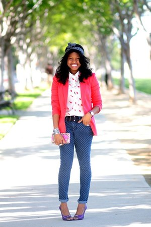 blue polka dot Target jeans - coral Target blazer
