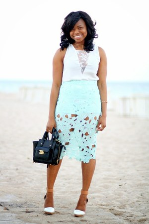 light blue Nasty Gal skirt - black 31 Phillip Lim bag