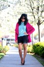 Magenta-nasty-gal-blazer-black-boy-meets-girl-shorts