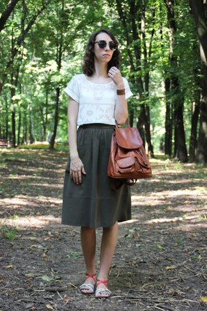 white Topshop top - black H&M sunglasses - olive green Zara skirt