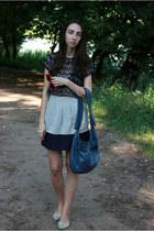 navy Zara blouse - red Oasis sunglasses - off white Zara skirt