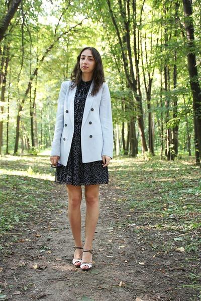 navy Zara dress - light blue Zara jacket