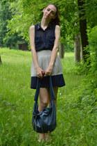 cream Zara skirt - blue H&M shirt
