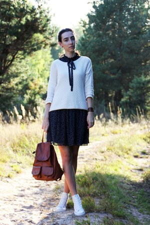 navy Zara dress - white Converse sneakers - ivory Mango hoodie