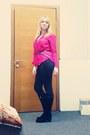 Hot-pink-cotton-bershka-blouse
