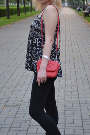 red Zara bag - black Tally Weijl leggings - Denim Co top