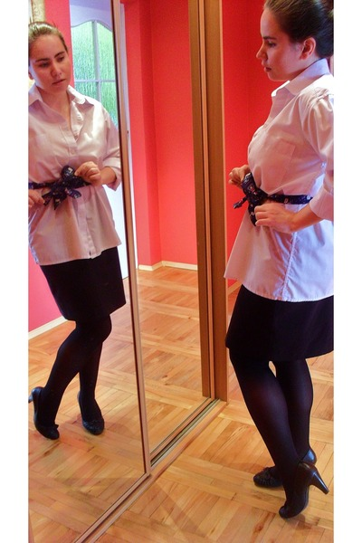 white shirt - black second hand Hennes skirt - black Deichmann heels