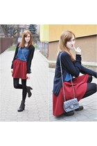 burgundy Stradivarius skirt - dark Merg boots - black simple sweater