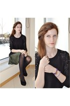 black studds H&M sweater - green AHAISHOPPING skirt - black CzasNaButy heels