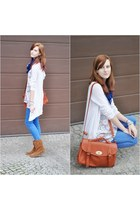 brown Stradivarius boots - brown wholesale bag - white Top Shop cardigan