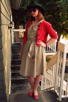 camel thrifted dress - red Old Navy shoes - forest green Ruche hat - red gift ca