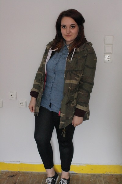 forest green Primark jacket - black Primark leggings - violet H&M shirt