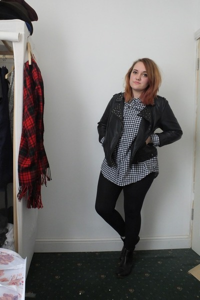 black Primark boots - black Primark jacket - black new look shirt
