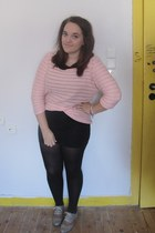 light pink H&M jumper - black Topshop dress - black H&M skirt