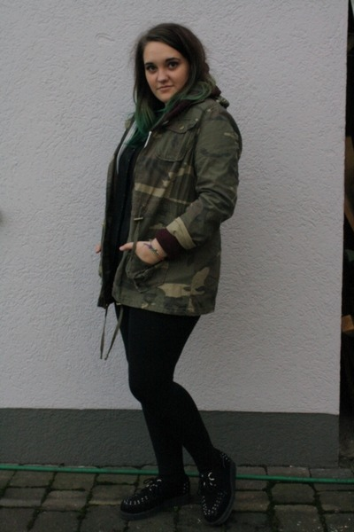 olive green Primark jacket - black Topshop leggings - black Primark shirt