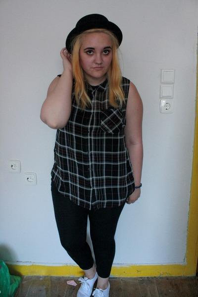 black H&M hat - black Topshop leggings - black Primark shirt