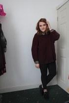 black Topshop leggings - cream new look shirt - black new look flats