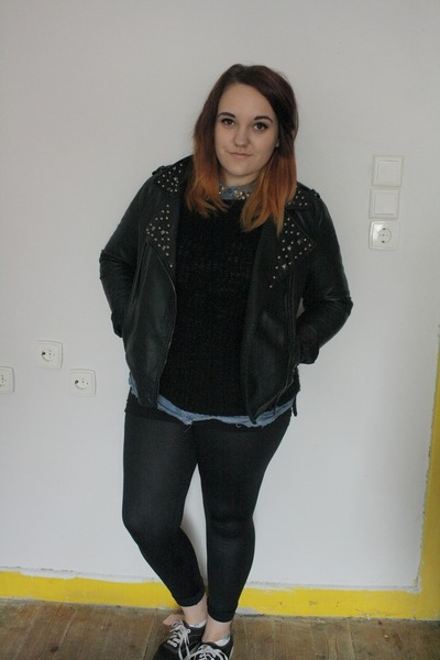black studded Primark jacket - black wet look Primark leggings